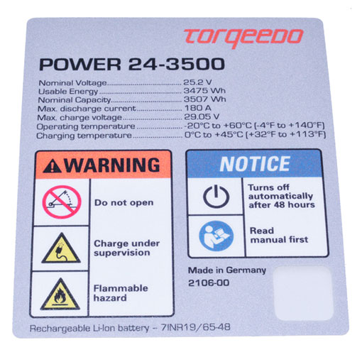 Torqeedo Power 24-3500 Label